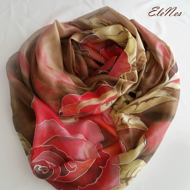 Hand-painted roses scarf 3
