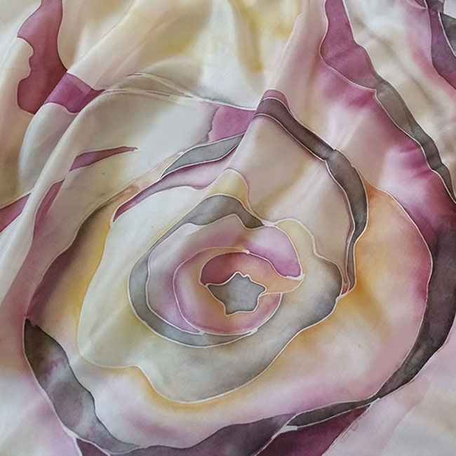 Hand-painted roses scarf 9