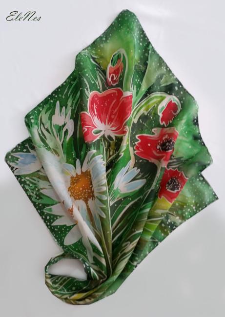Silk scarf Anemones 1