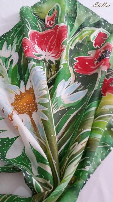 Silk scarf Anemones 2