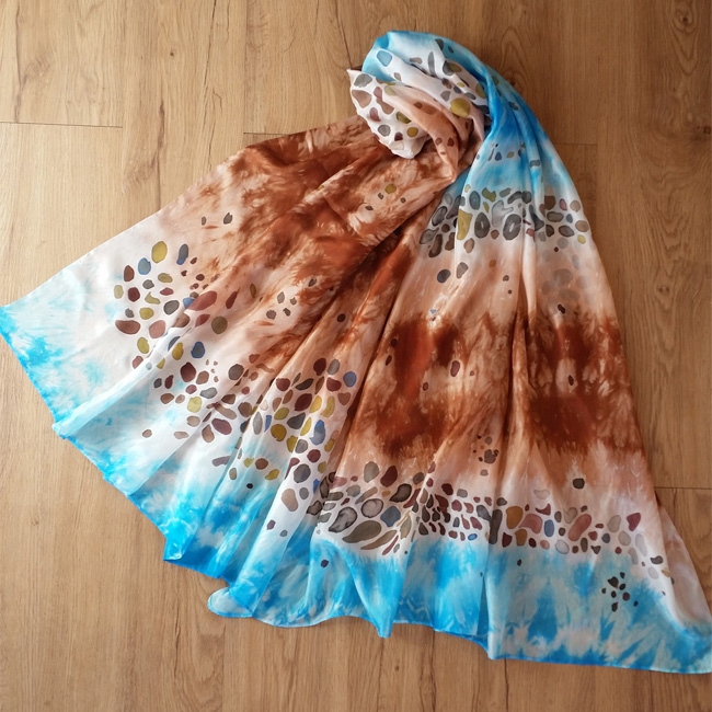 Silk scarf Sea and Stones 1
