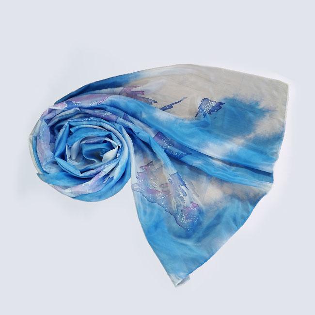 Silk scarf Winter forest 1