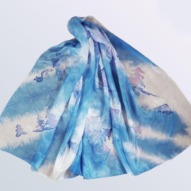 Silk scarf Winter forest 2