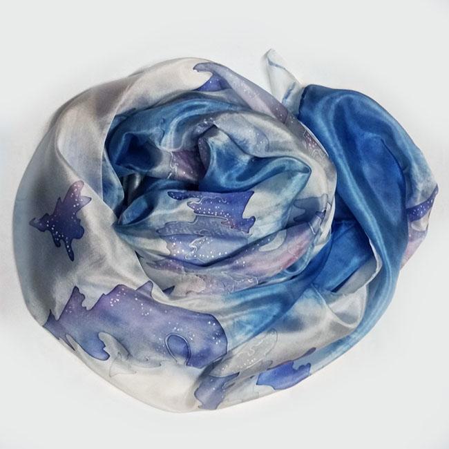 Silk scarf Winter forest 3