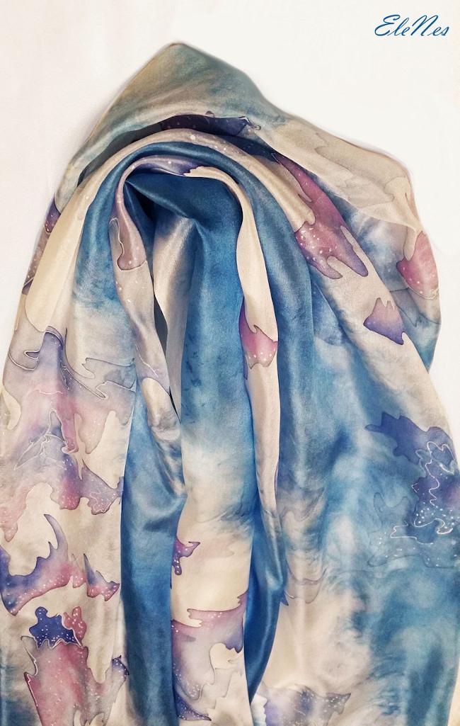 Silk scarf Winter forest 5