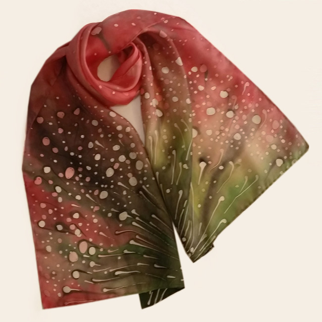 Silk scarf Polka dots wild flowers 1