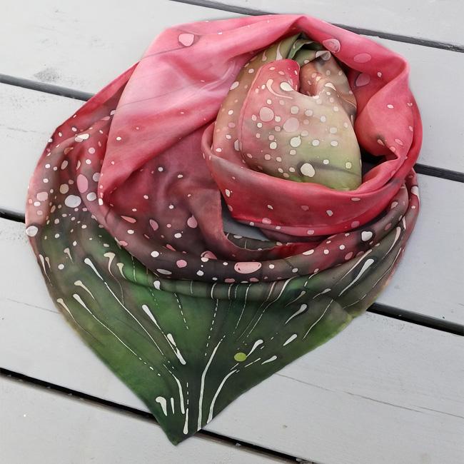 Silk scarf Polka dots wild flowers 2