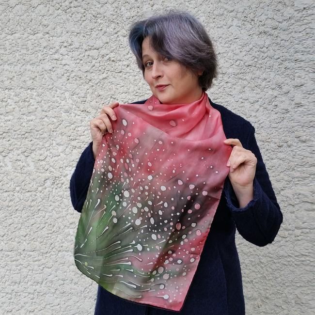 Silk scarf Polka dots wild flowers 4