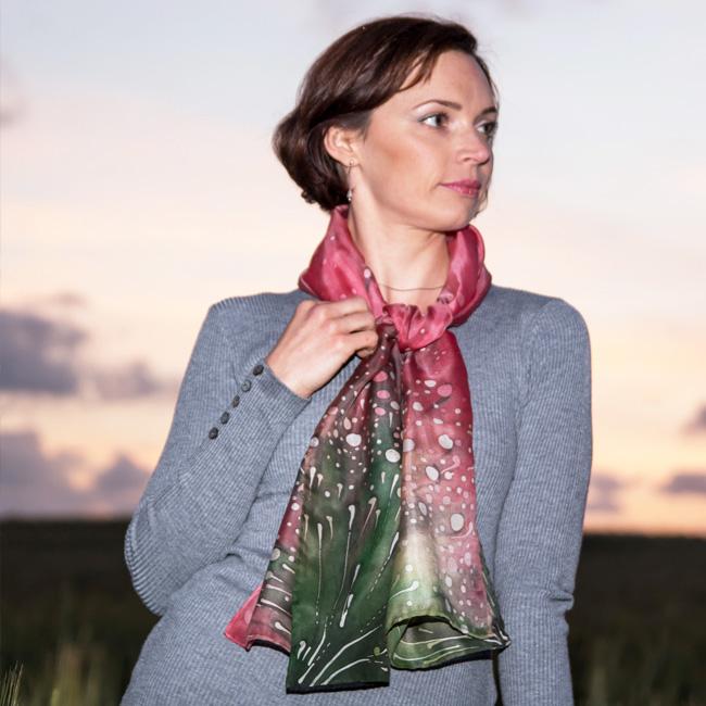 Silk scarf Polka dots wild flowers 6