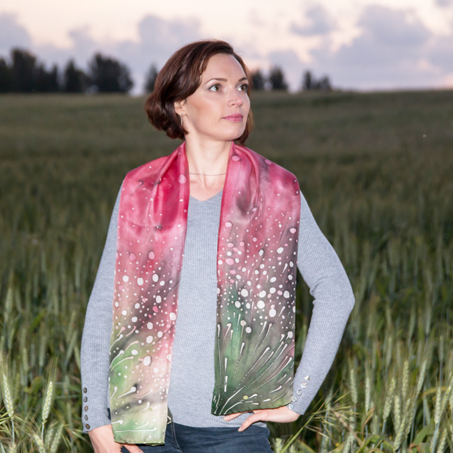 Silk scarf Polka dots wild flowers 7