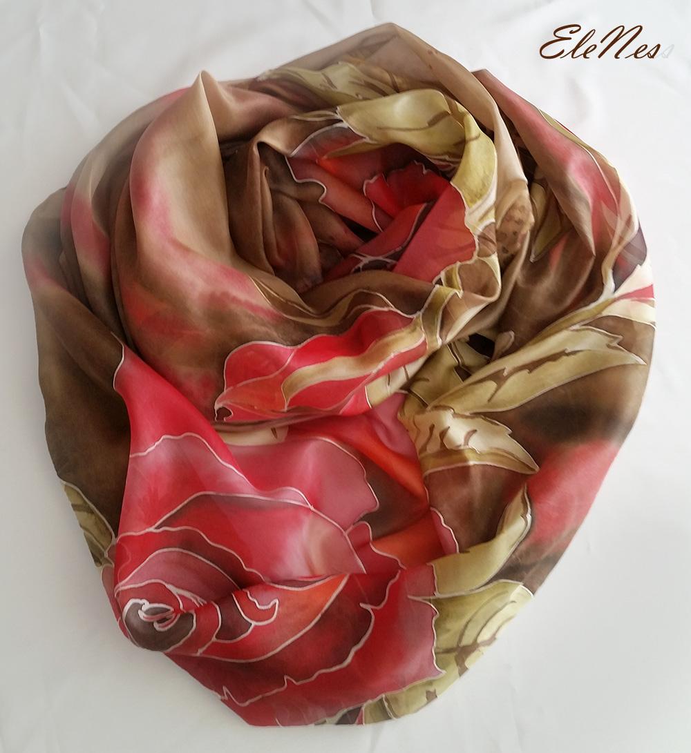 Orange Roses Silk Scarf